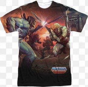 T-shirt - T-shirt He-Man Skeletor Battle Cat She-Ra PNG