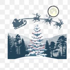 Christmas Eve Scenery - Santa Claus Christmas Tree Christmas Eve Reindeer PNG
