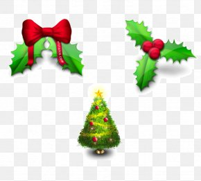 Holly And Christmas Tree - Santa Claus Christmas Decoration Common Holly Icon PNG