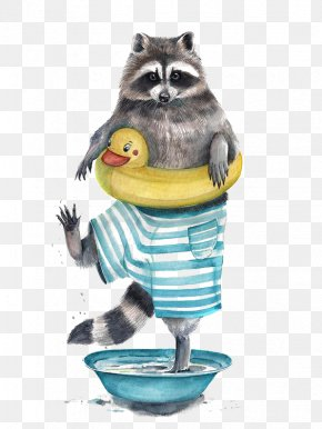 Creative Little Raccoon - Raccoon Watercolor Painting Drawing Illustrator Illustration PNG