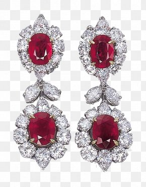 Ruby Earrings Double Diamond Pieces Products In Kind - Earring Jewellery Ruby Diamond Gemstone PNG
