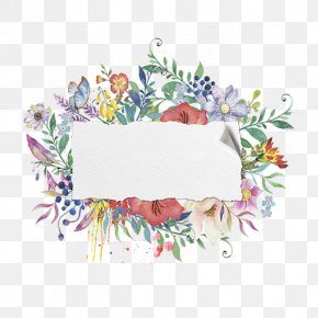 Hand Painted Watercolor Floral Frame Material - Watercolor Painting PNG