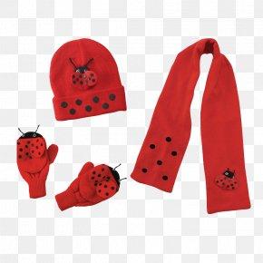 Ladybug Concept Children Winter Set - Scarf Glove Knitting Raincoat Hat PNG