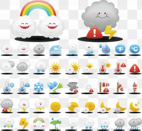 Cartoon Weather Icon Design Material - Thunderstorm Icon PNG