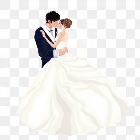 Wear Wedding Couple Kissing - Bride Wedding Dress Marriage Couple PNG