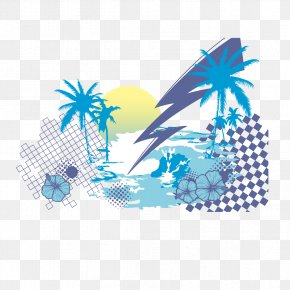 Blue Coconut Tree - T-shirt Coconut Tree Euclidean Vector PNG
