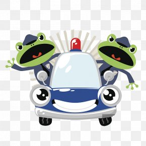 A Police Officer Who Patrols A Patrol Car - Frog Car Police Officer Illustration PNG