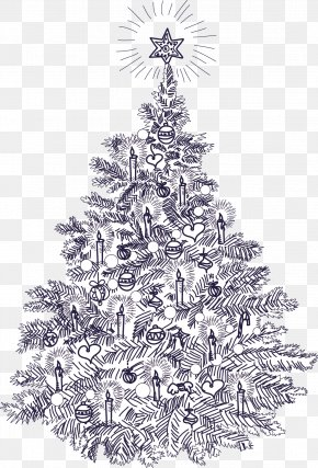 Christmas Tree - Christmas Tree Christmas Card Vintage Clothing Illustration PNG