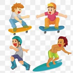 Skate Boy Vector - Stock Illustration Cartoon Surfing Illustration PNG