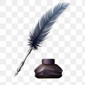 Feather Pen - Feather Fountain Pen Ink Paper PNG