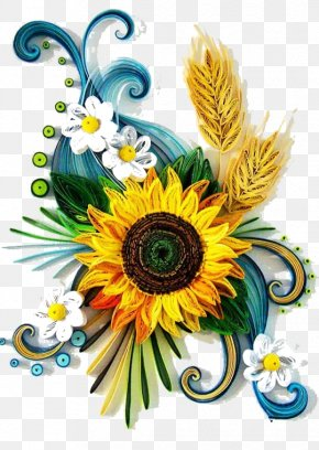 Roll Made Into A Sunflower - Paper Quilling Craft Art Painting PNG