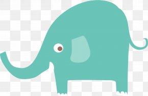 Blue Green Elephant - Indian Elephant Green Blue Clip Art PNG