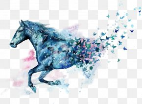 Horse - Little Blue Horse Watercolor Painting Drawing PNG