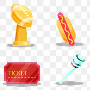 Vector Fantastic American Football Object - American Football Trophy Clip Art PNG