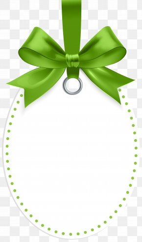 Label With Green Bow Template Clip Art - Green Leaf Clip Art PNG