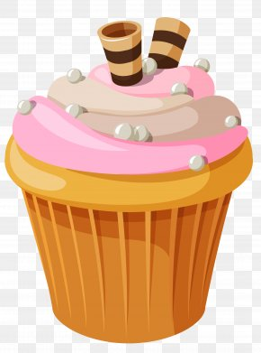 Mini Cake With Pink Cream Clipart Picture - Cupcake Birthday Cake Chocolate Cake Cream PNG