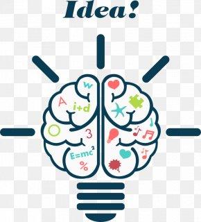 Vector Brain Light Bulb - Human Brain Euclidean Vector Illustration PNG