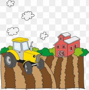Vector Tractor On Farm Farm - Farm Vector Field PNG