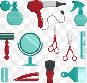 Vector Salon Scissors - Comb Barber Beauty Parlour Scissors PNG