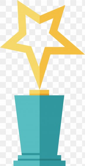 Golden Five Pointed Star Trophy - Trophy Five-pointed Star Medal PNG