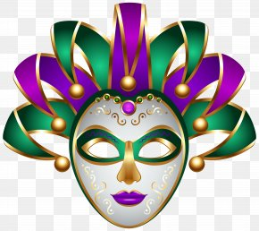 Green Purple Carnival Mask Transparent Clip Art Image - Carnival Of Venice Mask Clip Art PNG