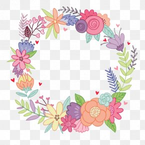 Watercolor Wreath - Flower Wreath Watercolor Painting Drawing Party PNG