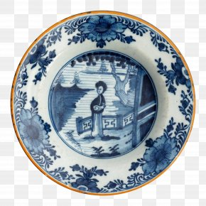 Plate - Plate 18th Century Blue And White Pottery Delft Ceramic PNG