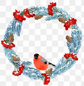 Blue Winter Wreath With Bird Clip Art Image - Wreath Winter Stock Illustration IStock Clip Art PNG
