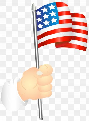 Hand With An American Flag Clip Art Image - Flag Of The United States Clip Art PNG