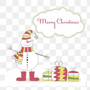 Wearing A Hat Around A Scarf - Santa Claus Greeting Card Snowman Christmas Card PNG