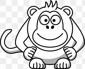 White Monkey Cliparts - Cartoon Black And White Drawing Clip Art PNG