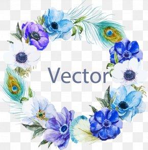 Blue Border - Watercolor Painting Boho-chic Illustration PNG