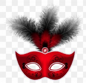 Red Feather Carnival Mask Clip Art Image - Mask Masquerade Ball Mardi Gras Clip Art PNG