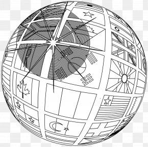 Globe Line Art - Globe Black And White Line Art Clip Art PNG