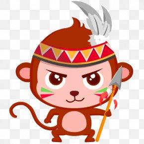 Brown Cartoon Monkey Decoration Pattern - Monkey Cartoon PNG