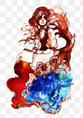 Watercolor Long Hair Beautiful Illustrator - Graphic Design Watercolor Painting Long Hair Illustration PNG