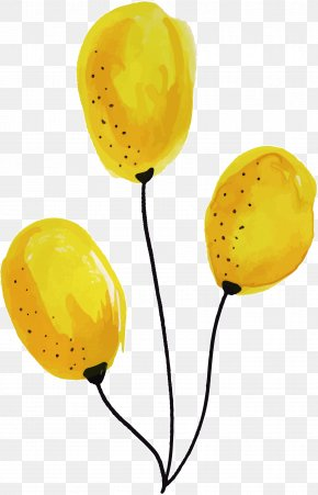 Hand Painted Yellow Balloons - Balloon Yellow Computer File PNG