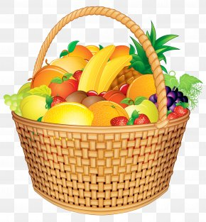 Fruit Basket Vector Clipart Image - Basket Of Fruit Gift Basket Clip Art PNG