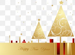 Hand-painted Golden Christmas Tree Shading Letter - Christmas Tree New Year PNG