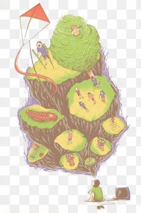 Green Kite Mountain Peaks - Cake Barong Illustration PNG
