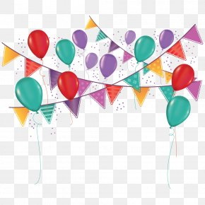 Balloon Pull Flag - Party Birthday Carnival Ornament Toy Balloon PNG