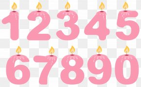 Transparent Numbers Birthday Candles Pink Clipart - Birthday Cake Candle Clip Art PNG