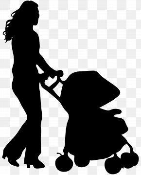 Female Silhouette With Baby Stroller Clip Art Image - Silhouette Baby Transport Clip Art PNG