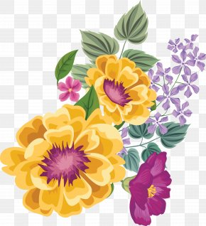 Watercolor Painted Yellow Flowers - Floral Design Flower Watercolor Painting PNG