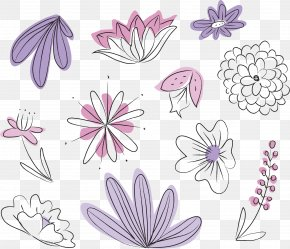 Vector Hand Painted Floral Background - Flower Floral Design PNG