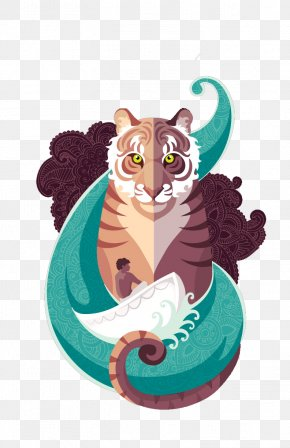 Juvenile Tiger Waves Of Pi Cartoons - Life Of Pi Cartoon Pi Patel PNG