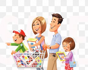 Cartoon Illustration Family - Shopping Cart Stock Illustration Illustration PNG