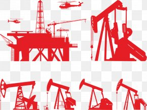 Vector Red Oil Drilling Platform - Oil Platform Drilling Rig Petroleum Offshore Drilling PNG