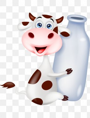 Lovely Hand-painted Cartoon Cows Milk Bottles Hold - Cattle Milk Bottle Stock Photography PNG
