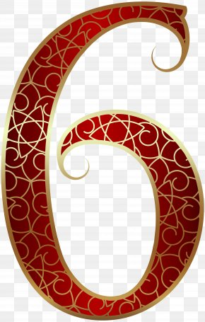 Gold Red Number Six Clip Art Image - Number Clip Art PNG
